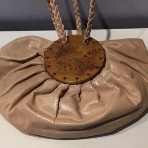 Fab! Designer Cream pleated leather half moon bag